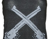 Revolver Guns Art Tank T-shirt Ladies American Apparel    XS  S  M    L or XL
