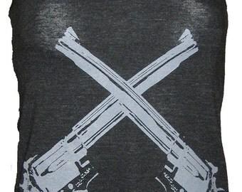 Revolver Guns Art Tank T-shirt Ladies American Apparel    XS  S  M    L or XL
