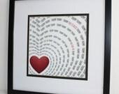 Love Heart Typography Print Love in a Heart Beat Word Art