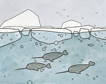 Narwhal art print - whimsical illustration 5x7