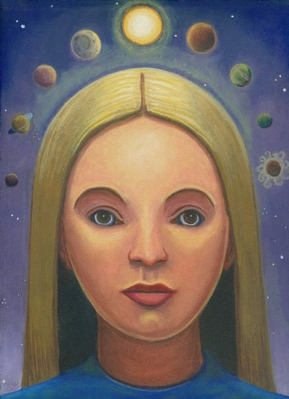 Girl Crowned with Celestial Orbs ORIGINAL PAINTING oil on linen 12x9 cosmic queen spiritual heavens goddess Unique Gift - Free U.S. shipping