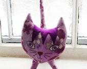 Custom Listing for Jessica Gates- Lavender Sakura Print Plush Toy Kitty Cat Priority Shipping