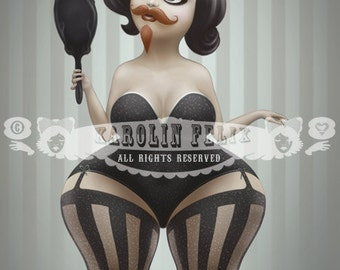 Bearded Lady Moustache Carnival Freak Show - signed 8x10 art print - big eyes lowbrow art by Karolin Felix - open edition, unframed