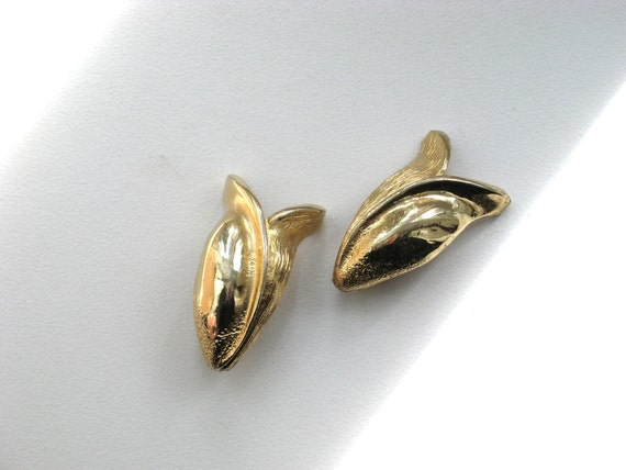 Signed  Clip Earrings 60s Modernist Pakula Design Vintage 1960 Costume Jewelry