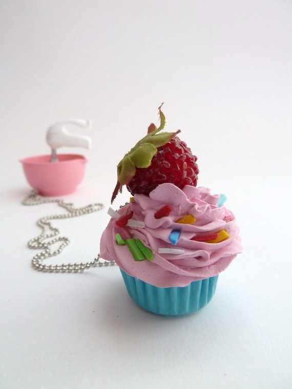 Katy Perry cupcake necklace - great prop for katy perry costume Pendant alice in wonderland  with silver ball chain pink frosting