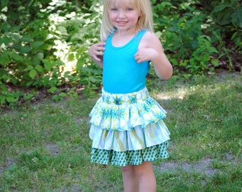 Twirly Ruffled Skirt - Girl's Skirts, Toddler Skirts, Children Clothing, Girls clothing, Blue Skirts, Size 18 mos, 2T, 3, 4, 5, 6,