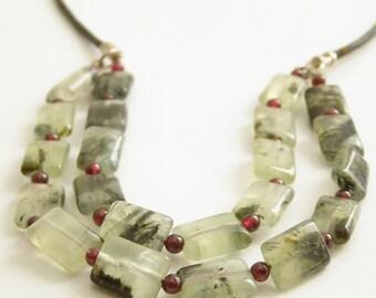 Casual Natural Green Gemstone Necklace Prehnite Tourmaline Quartz and Red Wine Garnet