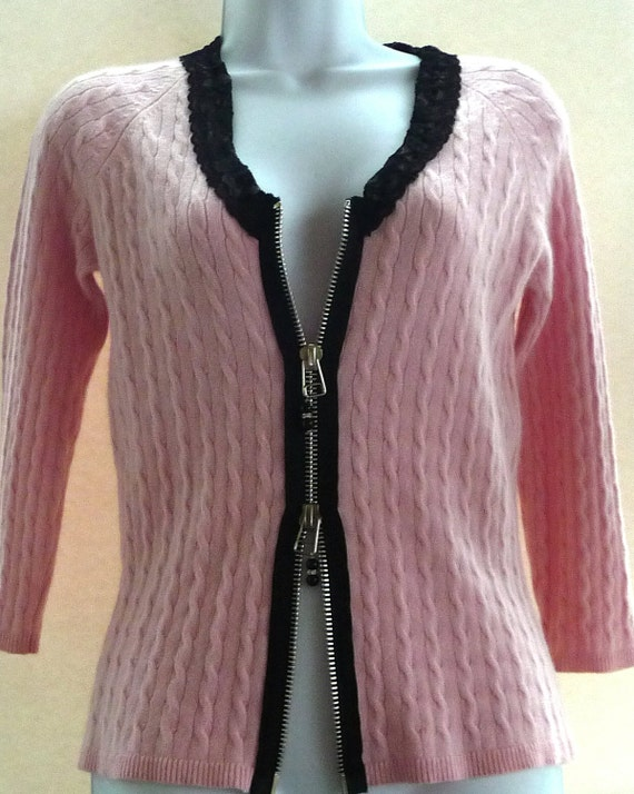 RENEE - Pale Pink - Cashmere Cable - Zip Up Cardigan - Romantic  Sweater - Black Lace Details - Girly - Recycled - UNIQUE