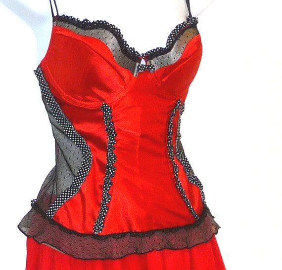 Jezebel - Corset - 36C - Red and Black - Polka Dots - Sexy - Upcycled - UNIQUE - Outerwear - Underwear - Upcycled