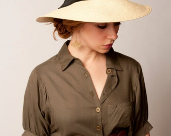 Panama Sun Hat - Natural Straw with Black Trim - Ladies Designer Hat