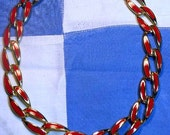 CLEARANCE SALE - Vintage Red Enamel Chain Link Necklace (N-1-6)