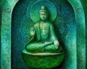 Green Buddha Art Painting Zen Buddhist Meditation Spiritual Buddhism ORIGINAL oil on canvas by Sue Halstenberg