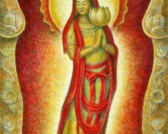 Buddha Art KWAN YIN LOTUS meditation spiritual Goddess Zen poster print of painting by Sue Halstenberg