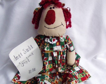 Primitive Doll Christmas Annie with letter to Santa by Happy Valley Primitives