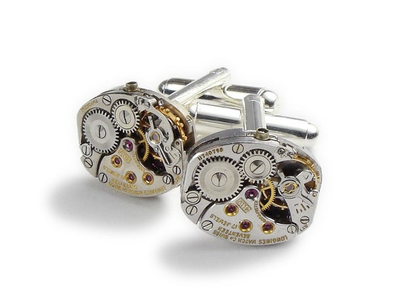 Ruby Wedding Gifts For Men: Steampunk Cufflinks Longines Rare Vintage Watch By