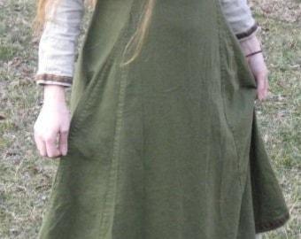 2 Piece Linen Viking Apron Dress and Underdress SCA LARP Renn