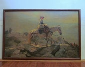 vintage Winslow Homer 'The Bridle Path'  White Mountains NH Huge Rustic Framed Horse Landscape art print, large 1950s mid century litho