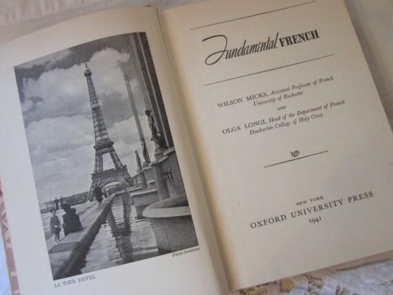 vintage Fundamental French, Micks and Longi, vintage 1940's Language Lesson Book, Textbook, Photographs, objet d'art