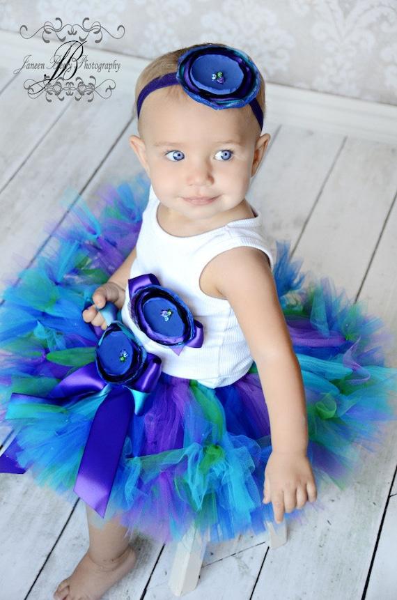 Baby Girls Birthday Tutu Dress Outfit  Gorgeous Peacock Birthday Tutu