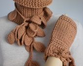 Fall Fashion - Sandy Brown Hand Knit and Crochet Set of  Scarf and Gloves - Neck warmer - ready to ship