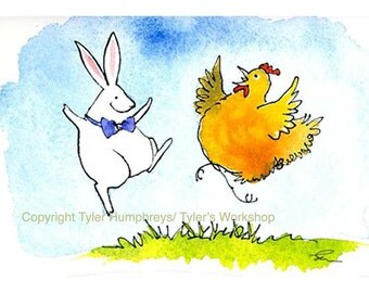 Funny Animal Greeting Card, Easter Card, Chicken & Rabbit Greeting Card Watercolor Animals Painting Illustration Print