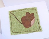 Wee Mouse Fabric Collage Greeting Card