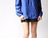 vintage 1970s blouse / 70s royal blue blouse / Monique Blue Dots Blouse