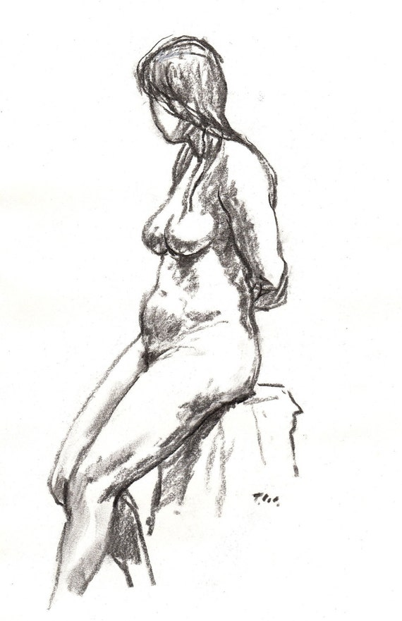Charcoal Figure Drawing,  Seated, Female Nude. Original Charcoal Drawing, Classic Figure Study
