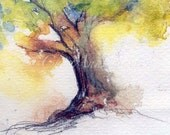 Watercolor art My Tree - climbing tree love tree fall autumn Giclee Print 5x7