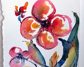 ORIGINAL watercolor flower art - hot pink hot orange - Groovy Shabby Chic PEACE flower - original watercolour n ink 7x8