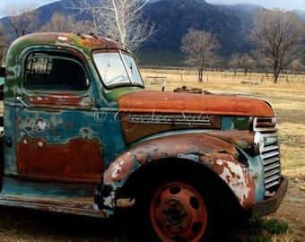 Oversized Art - Old Chevrolet Pickup Vintage Memorabilia  'Out in the Field' REALLY Big PHOTO 30x30 Antique farm vehicle Brown Rusty Blue