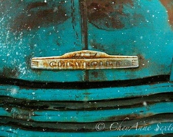 Old Chevrolet Truck 1952 Grill Art Snow Antique Farm Truck Bumper Vintage Teal Chevy Pickup Photography 8x10 Print