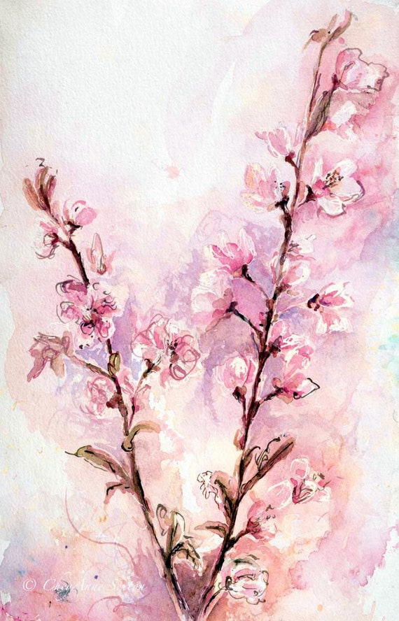 Cherry Blossoms Lovely Pink Purple White Flowers Watercolour Fine Art - Watercolor Giclee Print 10x16 panoramic