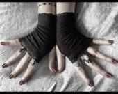 Sara Le Noir Fingerless Gloves | Black Soft Cotton w/ Lace | Gothic Gypsy Dark Tribal Emo Bohemian Earth Vampire Wedding Urban Light Yoga