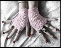 Lace Fingerless Gloves - Pale Baby Pink Floral Fishnet Lace Gloves Wedding Gloves Bridal Gloves Hime Lolita Gloves Bohemian Bride - Elspeth