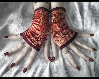 Boheme Bella Velvet Fingerless Gloves - Wine Burgundy Red Warm Golden Cream Floral - Gothic Belly Dance Dark Tribal Vampire Boho Gypsy Goth