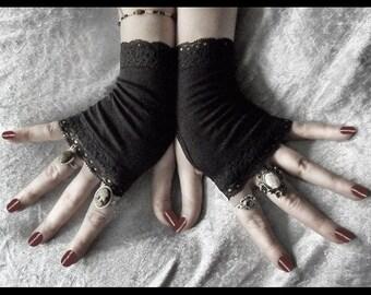Sara Le Noir Fingerless Gloves - Black Soft Cotton w/ Lace - Gothic Gypsy Dark Tribal Emo Bohemian Earth Vampire Wedding Urban Light Yoga