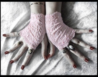 Elspeth Lace Fingerless Gloves - Pale Baby Pink Floral Fishnet - Gothic Vampire Lolita Wedding Fetish Dark Tribal Bohemian Bridal Emo Goth
