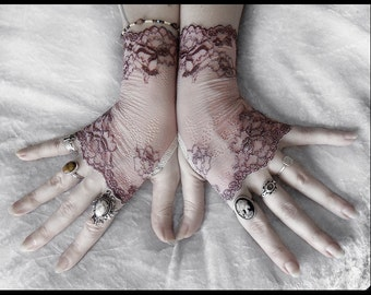Cosette Lace Fingerless Gloves - Dusty Mauve Plum Embroidered Floral - Gothic Vampire Regency Tribal Bellydance Goth Fetish Mourning Tea