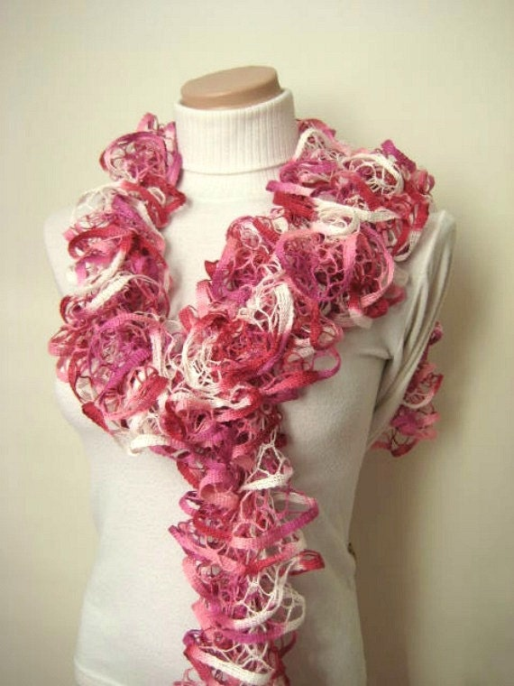 Scarf - Pink and White Frilly Scarflette, Neck Tissue, Rag, Neckwarmer, Foulard - Gift for Her - READY TO SHIP