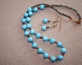 SALE Jewelry Set Gemstone Turquoise - Necklace and Earrings - SRAJD