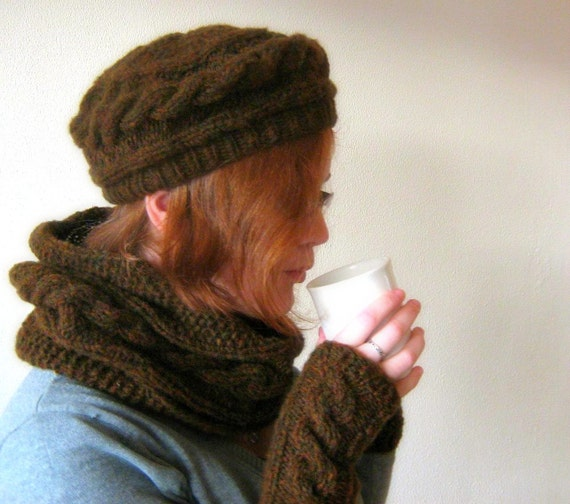 Cable Beret Hat, Hand Knit, Women and Men Mix and Match - Forest Brown melee