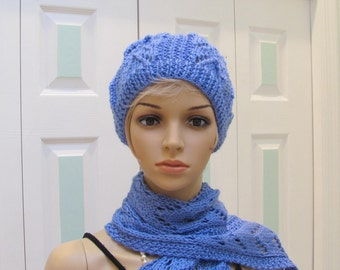 READY TO SHIP : Periwinkle  Hat& Scarf set,  hand knitted, in a silky open weaved pattern, extra long scarf