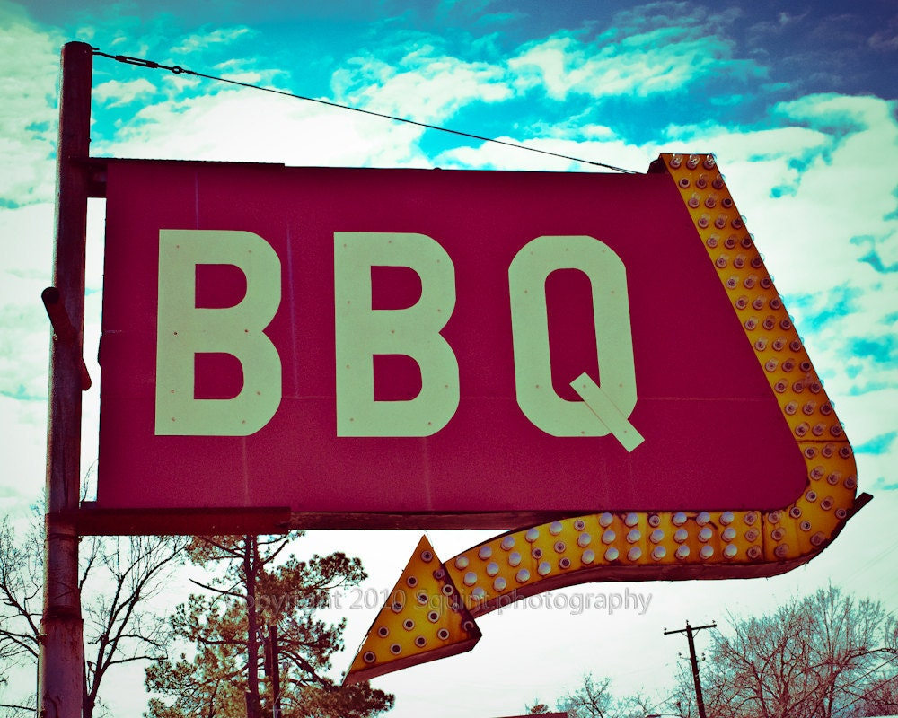 Fine art photography bbq sign restaurant decor retro