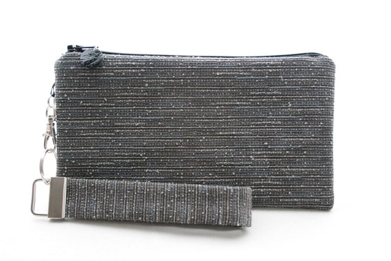 Gray clutch set - small purse for women - solid grey wristlet - simple zipper pouch & key fob - handmade durable fabric bag