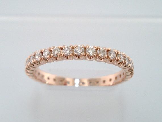 Diamond Eternity Band, Womens Wedding Ring 14k Rose Gold 0.70 Carat Anniversary Ring, handmade Stackable