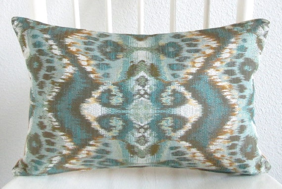 Rhythm Waves Pool 12x18 glam ikat peacock green teal gold lumbar pillow cover