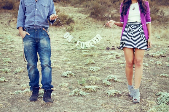 Rustic Engagement Sign/Banner/Photo Prop -We've Decided On Forever-Vintage Letters