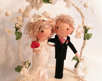 Cake Topper  Ready Made Bride Groom Mr. Mrs. Flowered Arch  Hand Painted Clay & Wood clothespin Dolls Detailed