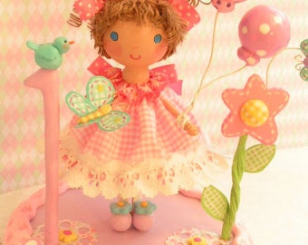Made to Order Pink Gingham Country Girl and Her Friends~ Child Keepsake  Birthday Cake Topper Decoration ~Little Girl~ Baby's 1ST~Wood &Clay
